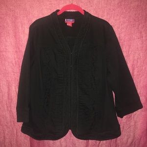 Women's black denim stretchy jacket 14/16